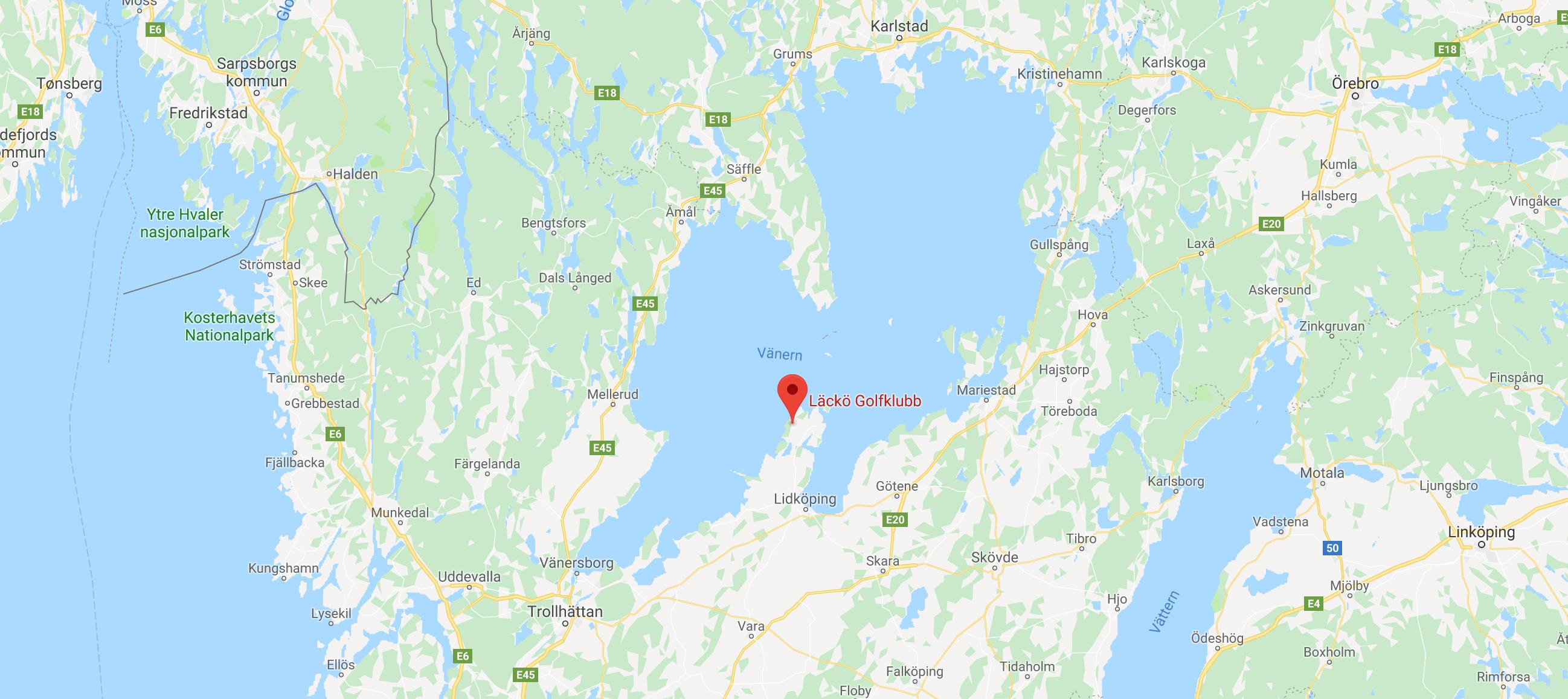 Karta över Läckö Golfklubb