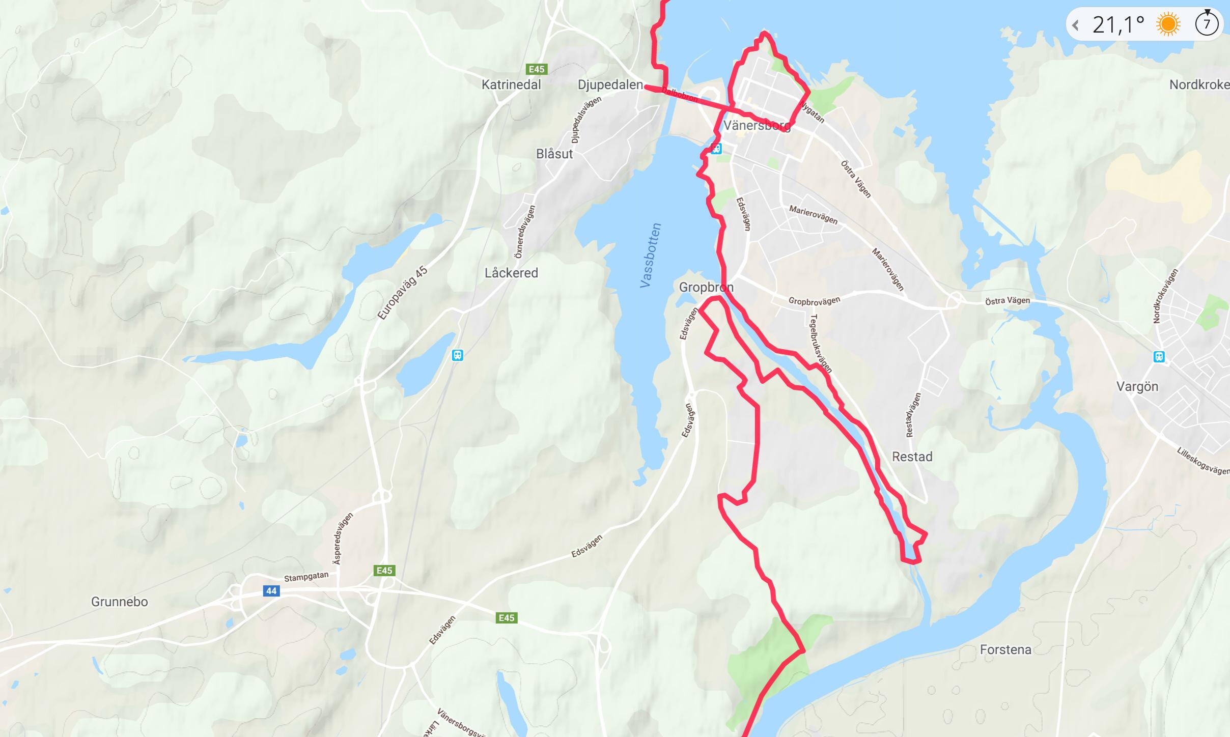 40 km genom Vänersborg och Trollhättan
