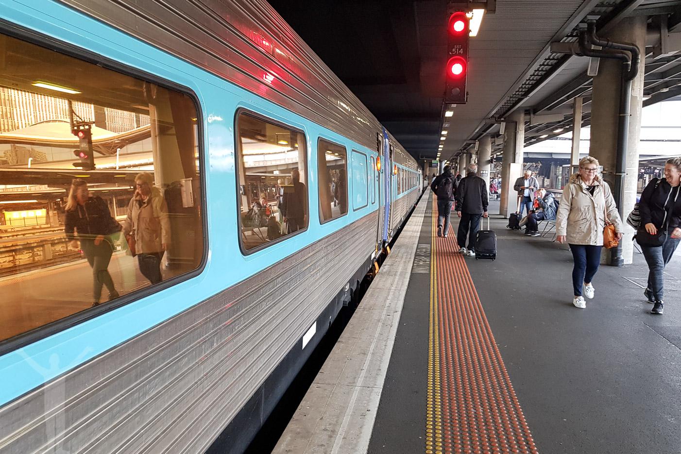 Resan med nattåg i Australien slutar vid Melbourne Southern Cross