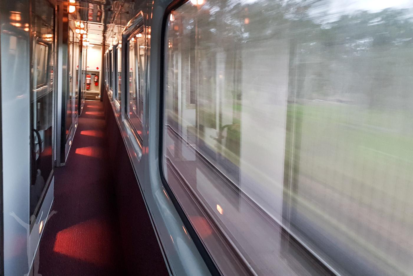Korridoren i sovvagnen, på resan med nattåg i Australien