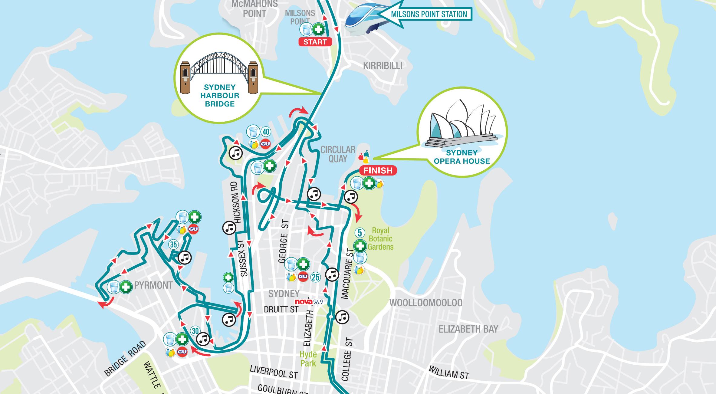Sydney Marathon - karta för 2019
