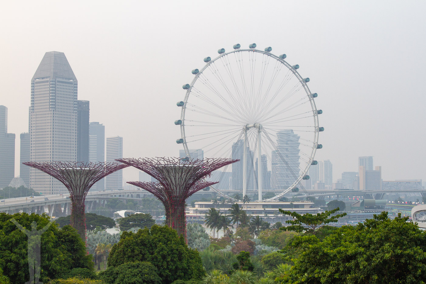 Haze över stan och Singapore Flyer