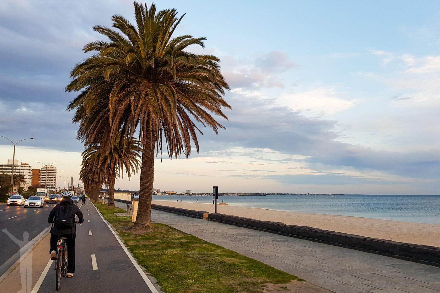 Cykelväg längs stranden i Port Melbourne