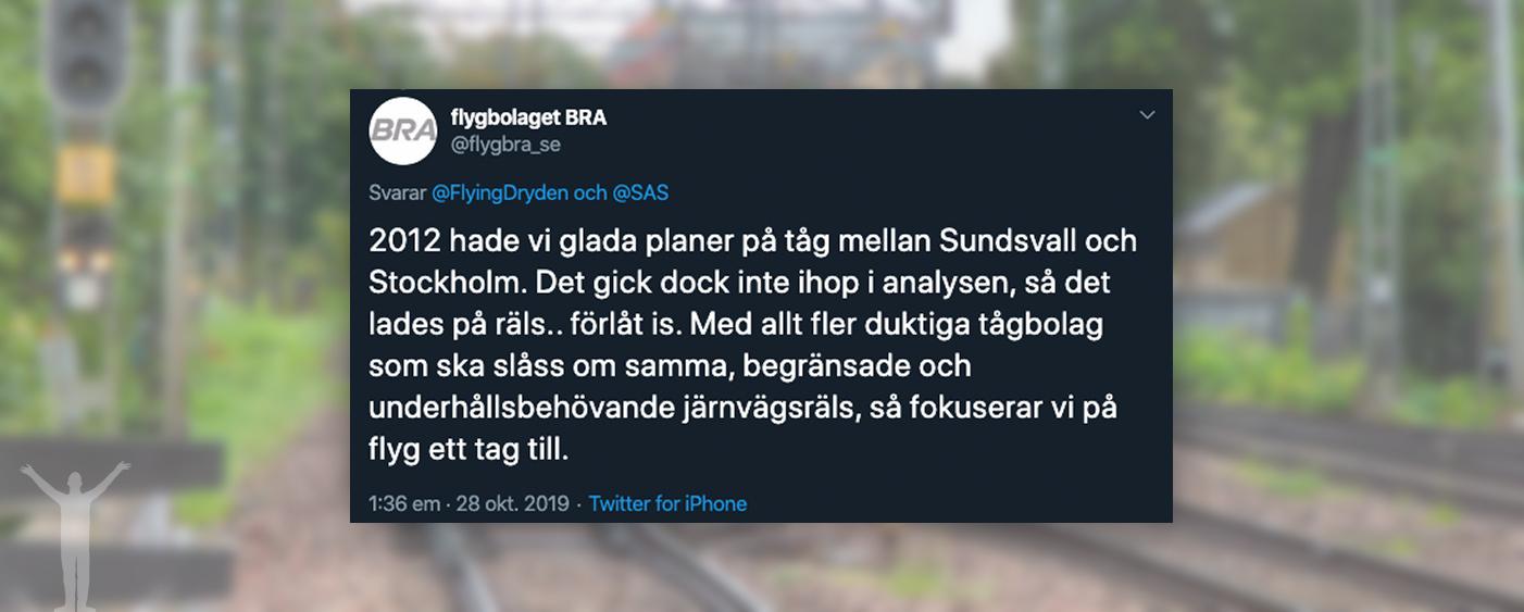 FlygBra svarar om FlyRail i Sverige