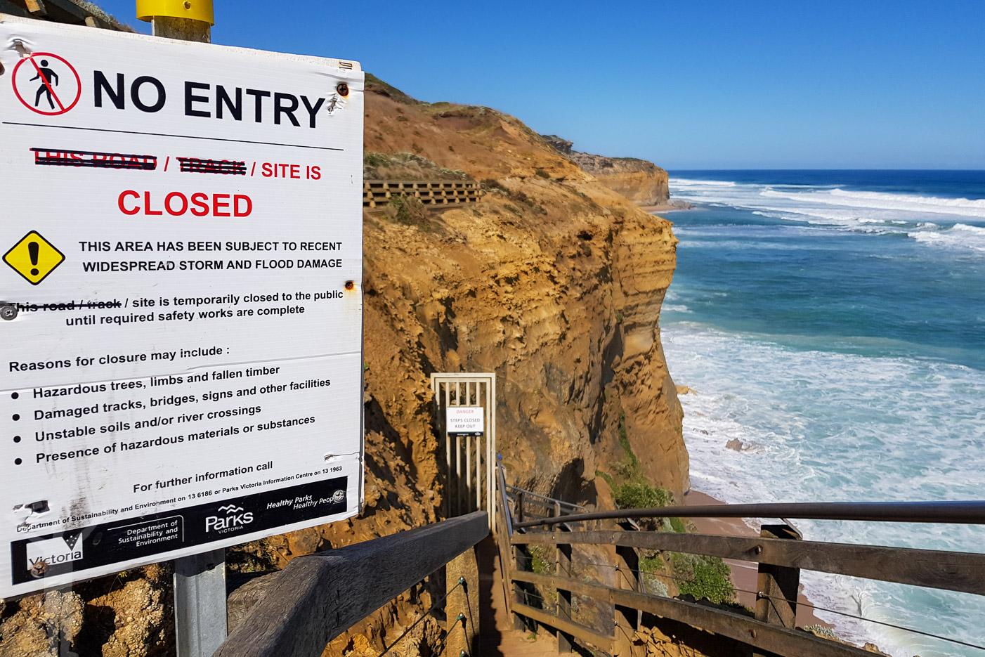 Stranden stängd vid Tolv Apostlarna