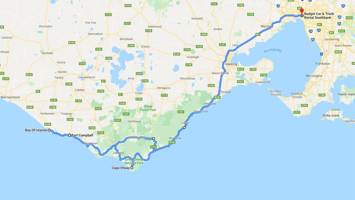 Vår roadtrip - karta för att köra Great Ocean Road