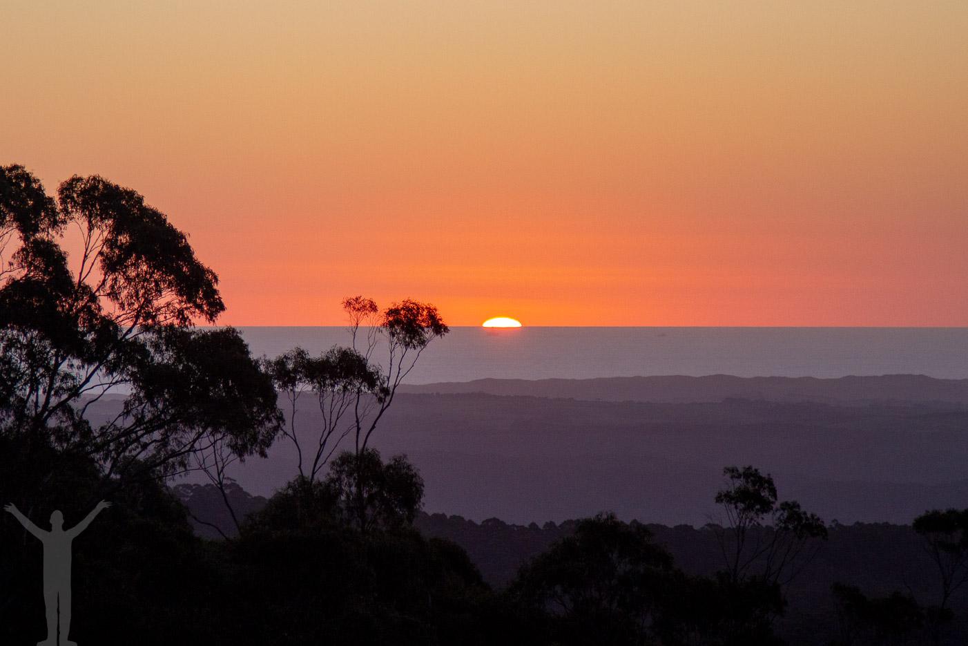 Solnedgång över Great Ocean Road