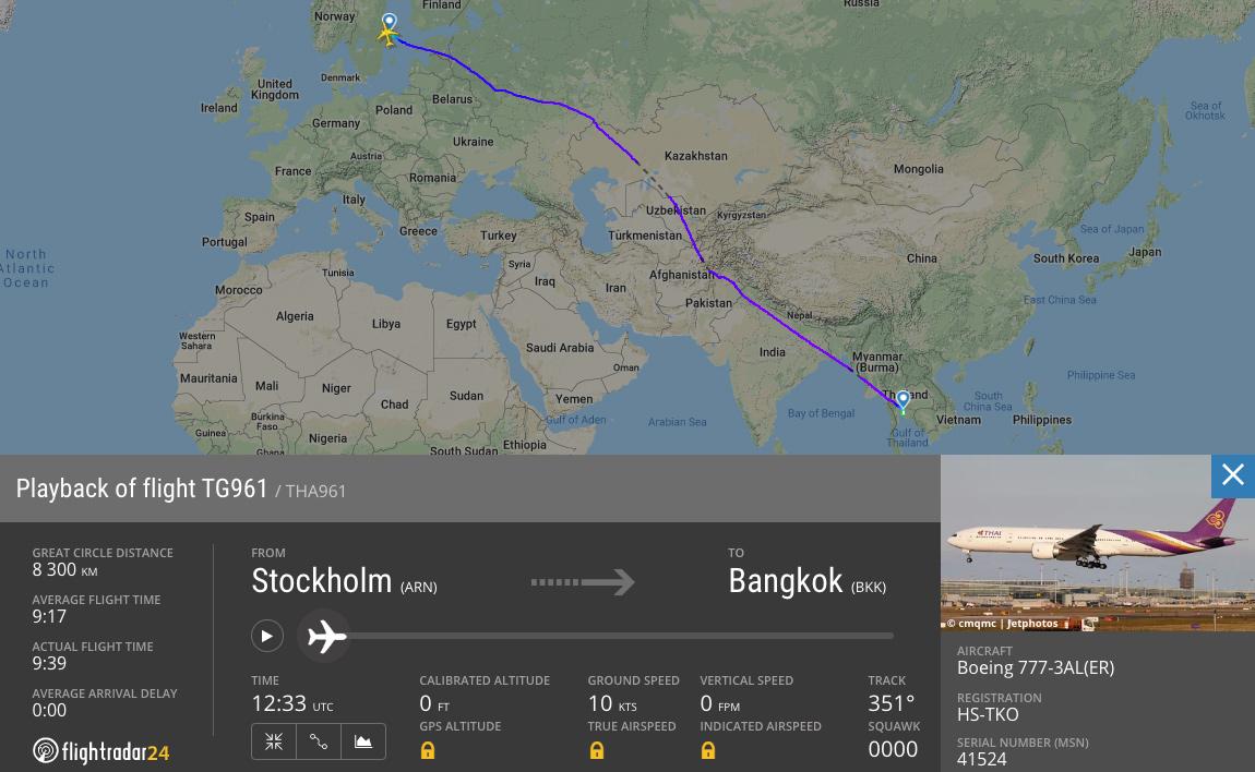Flyga med Thai till Bangkok, TG961