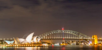 Sydneys operahus och Harbour Bridge