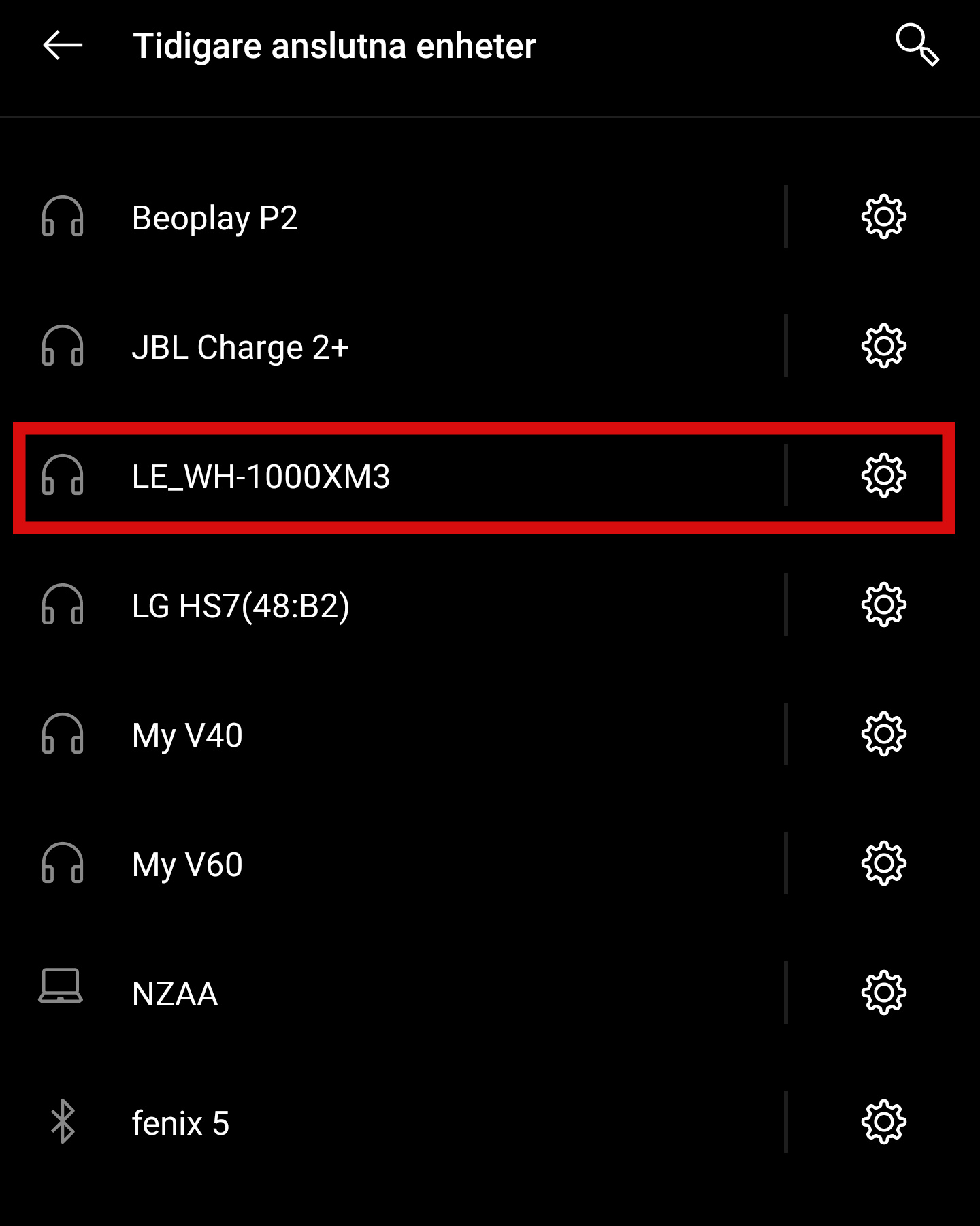Android - Bluetooth-inställningar - Visa alla enheter