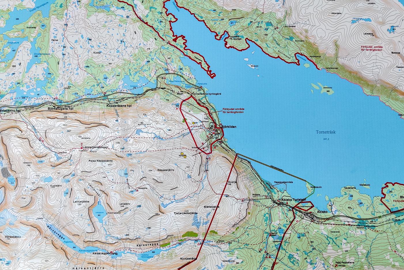Karta över Björkliden