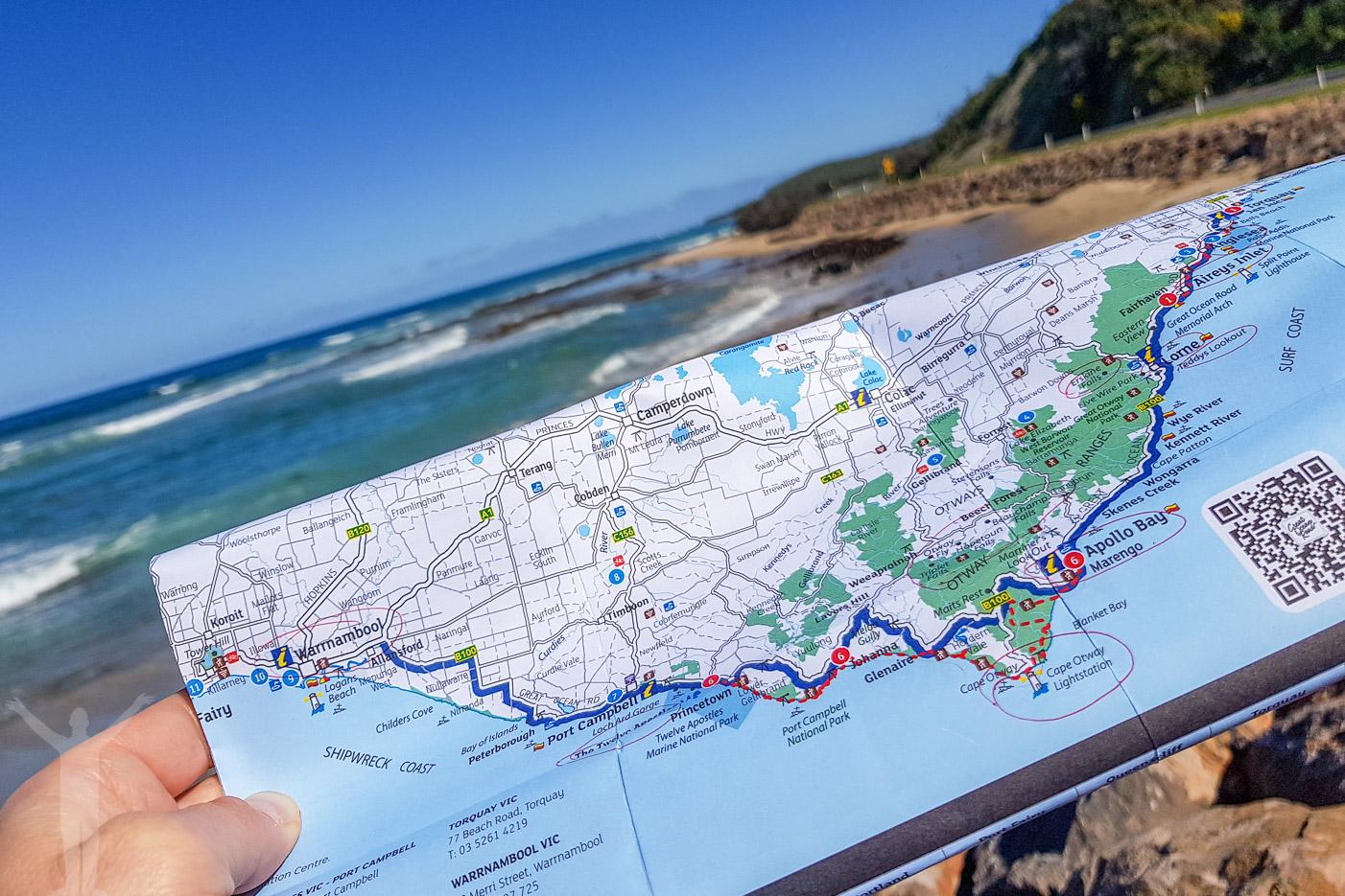 Karta över Great Ocean Road