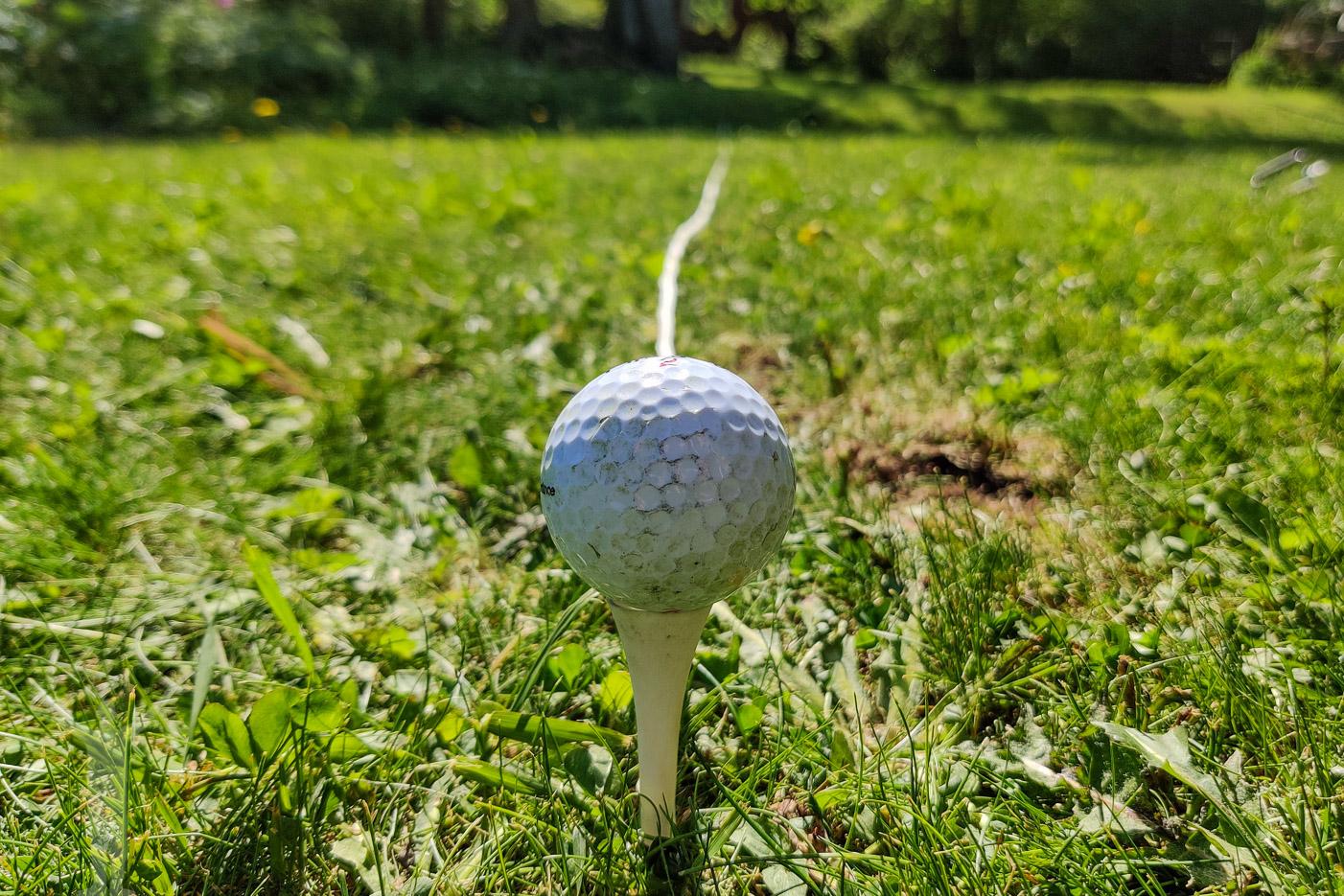 Träna golf hemma i trädgården