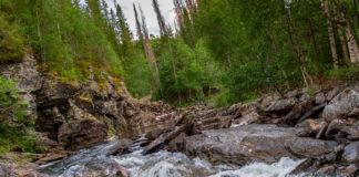 Forsande vatten vid Storbofallet utanför Mattmar