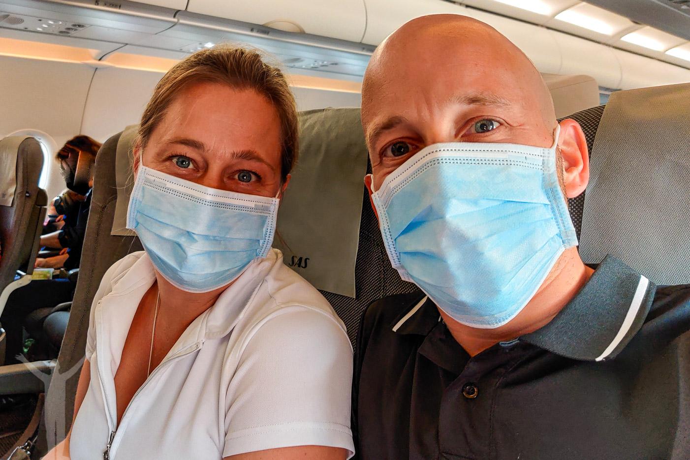 Det är krav på munskydd när man flyger med SAS