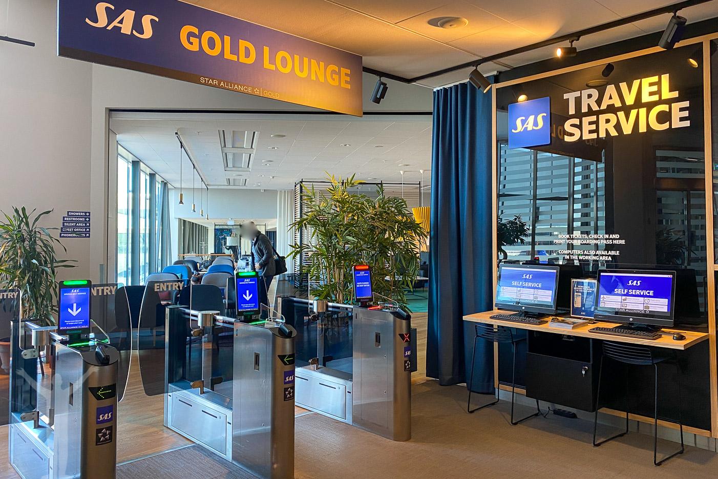 Entré till SAS Gold Lounge på Arlanda