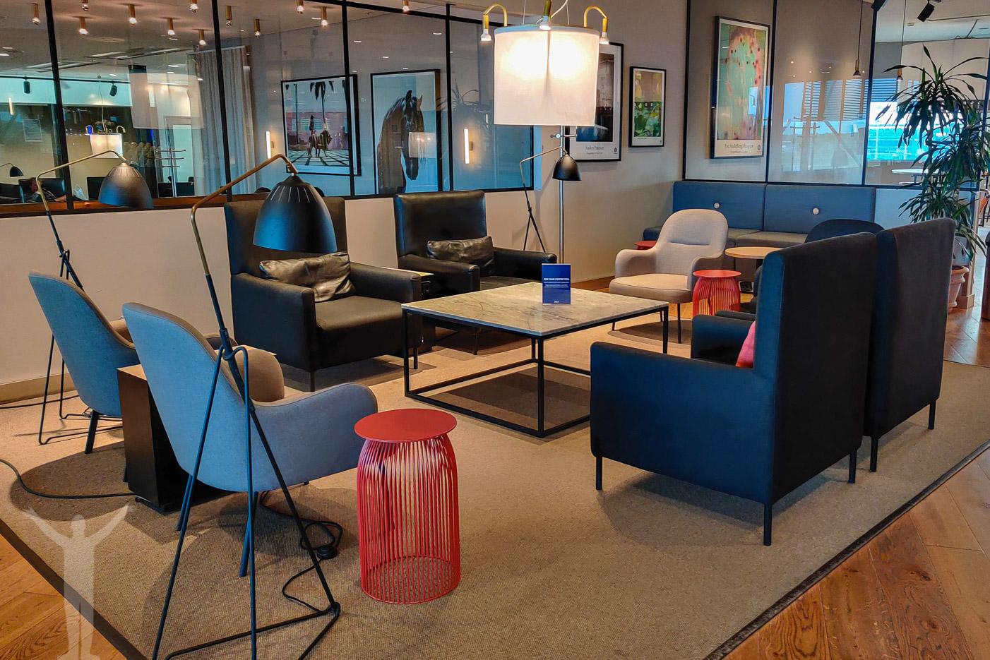 Vardagsrumskänsla i SAS Gold Lounge på Arlanda