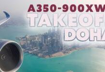 Takeoff med Qatar från Doha i A350