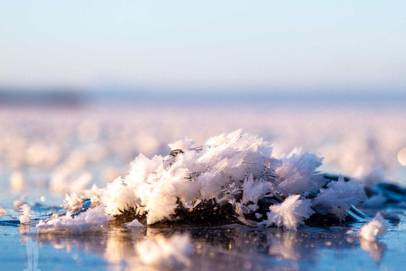 Frost på Storsjöns is i januari