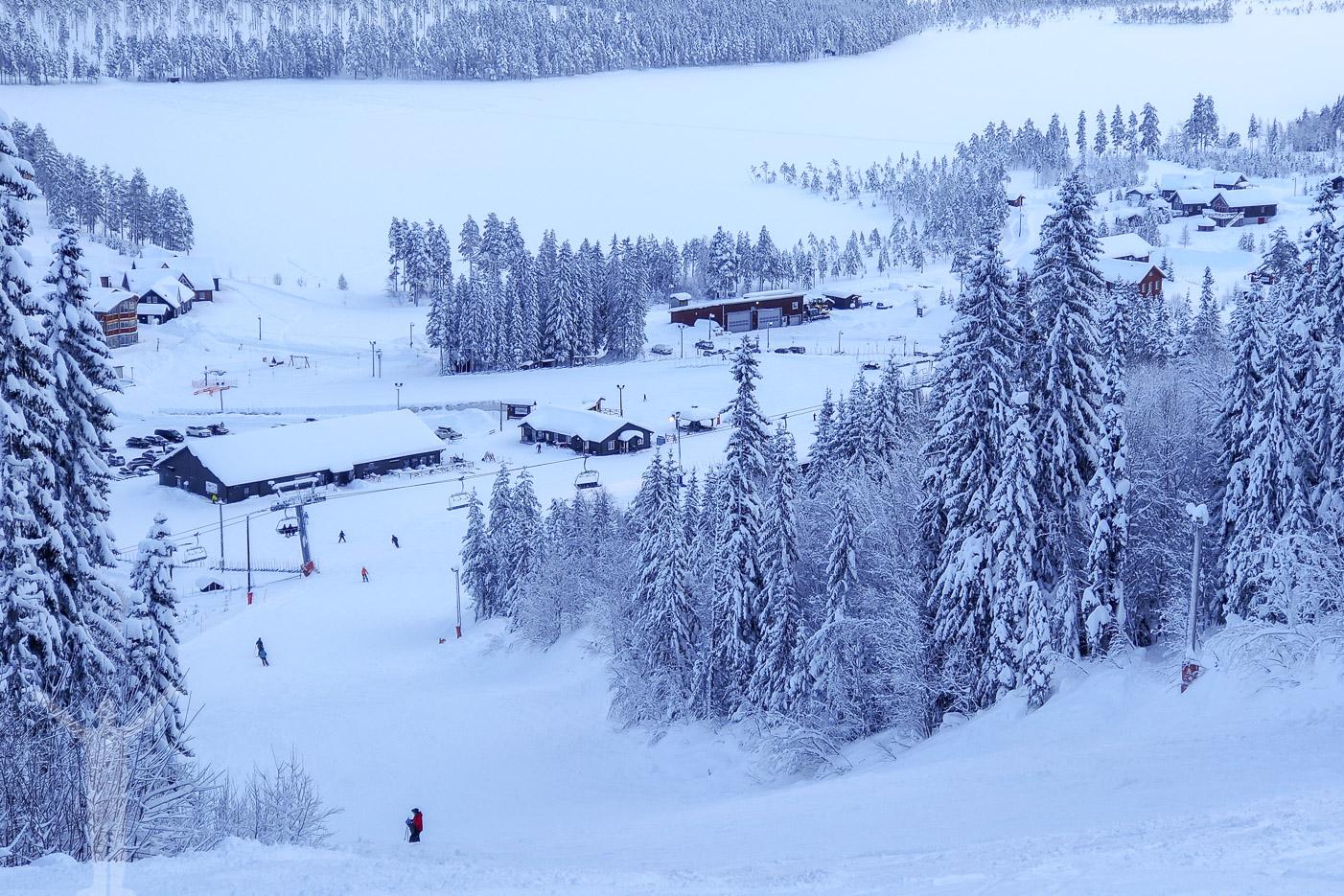 Slutet på Supersvängen i Klövsjö skidområde