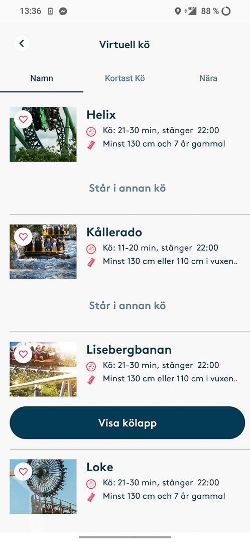 Kötider och annan information i Lisebergs app