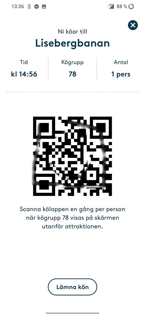 Lisebergs app med QR-kod för kö