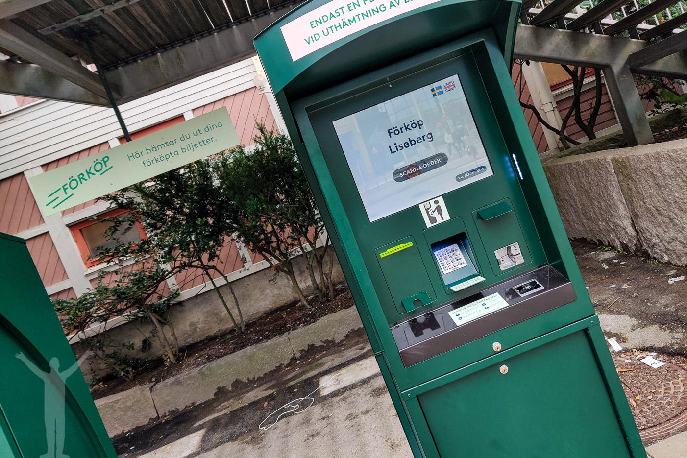 Biljettautomat där man hämtar sina förköpta biljetter